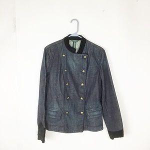 LRL Lauren Jeans Co. denim velvet trim jacket